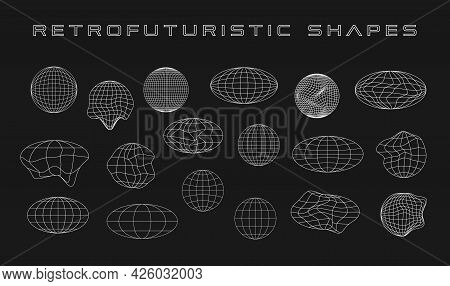 Retrofuturistic Collection Of Cyber Shapes. Set Of Cyberpunk Planet Shapes. Trendy Design Elements.