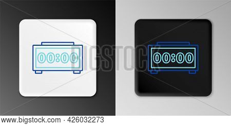 Line Digital Alarm Clock Icon Isolated On Grey Background. Electronic Watch Alarm Clock. Time Icon.