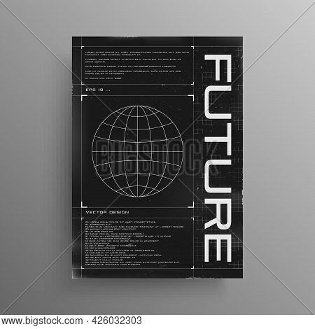 Retrofuturistic Poster With Hud Elements And Broken Laser Grid. Poster Design In Cyberpunk Style Wit