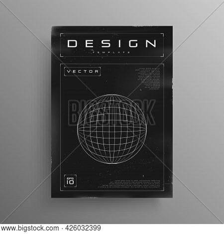 Retrofuturistic Poster With Hud Elements. Black And White Cyber Retro Poster Design With Grid Planet