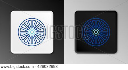 Line Alloy Wheel For A Car Icon Isolated On Grey Background. Colorful Outline Concept. Vector