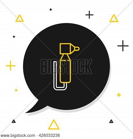 Line Tooth Drill Icon Isolated On White Background. Dental Handpiece For Drilling And Grinding Tools