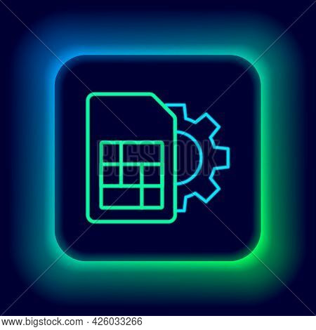 Glowing Neon Line Sim Card Setting Icon Isolated On Black Background. Mobile Cellular Phone Sim Card