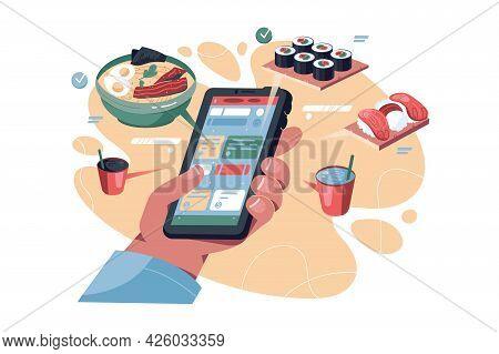Online Food Order Via Phone Vector Illustration. Smartphone App With Menu Flat Style. Online Shoppin