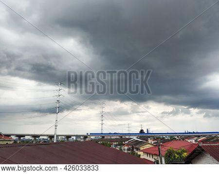 Scenic View Of Dark Thunderstorm Cloudscape Over Kuala Lumpur Malaysia Urban City.