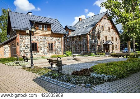 Latvia, Cesis, August, 2020 - Modern Architecture With Reconstructed Buildings From Old Stone - Boul