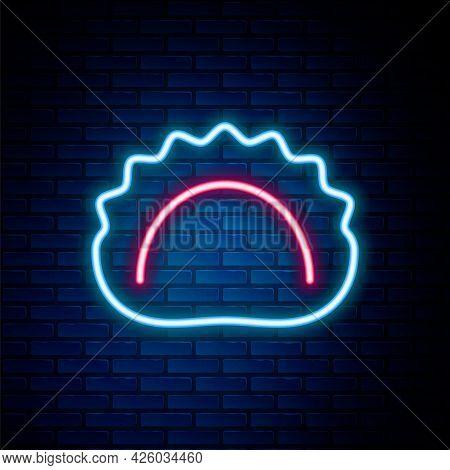 Glowing Neon Line Dumplings Icon Isolated On Brick Wall Background. Pierogi, Varenyky, Pelmeni, Ravi