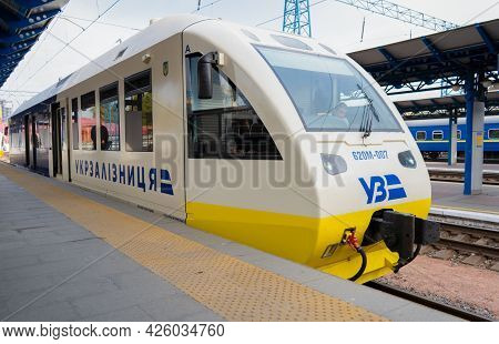 Ukraine, Kyiv - October 10, 2020: Electric Train Ukrzaliznytsia At The Station. High-speed Train Car