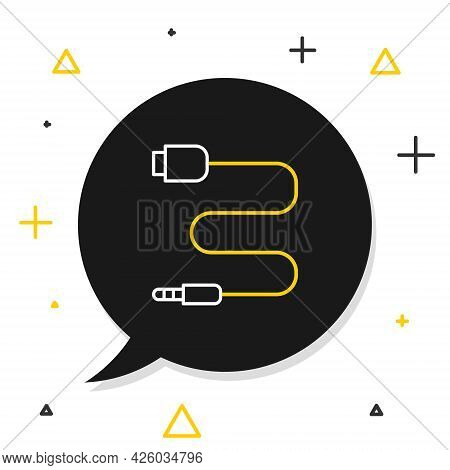 Line Audio Jack Icon Isolated On White Background. Audio Cable For Connection Sound Equipment. Plug