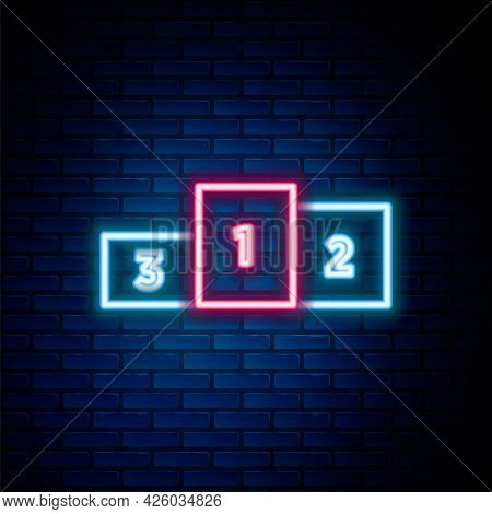 Glowing Neon Line Business Podium Icon Isolated On Brick Wall Background. Employee Nomination Sign.