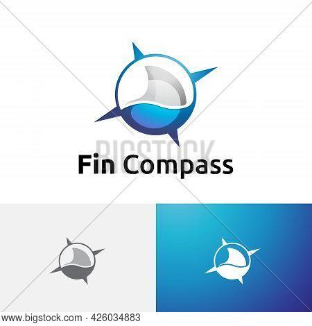 Shark Fin Fish Ocean Wildlife Compass Adventure Logo