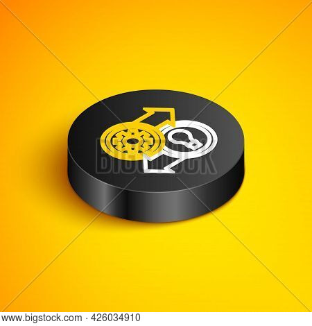 Isometric Line Human Resources Icon Isolated On Yellow Background. Concept Of Human Resources Manage