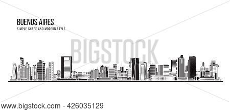 Cityscape Building Abstract Simple Shape And Modern Style Art Vector Design -  Buenos Aires City