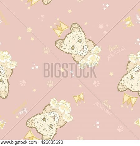 Vector Cute Lion Cub Princess With Crown On Warm Pink Seamless Pattern Background. Perfect For Fabri