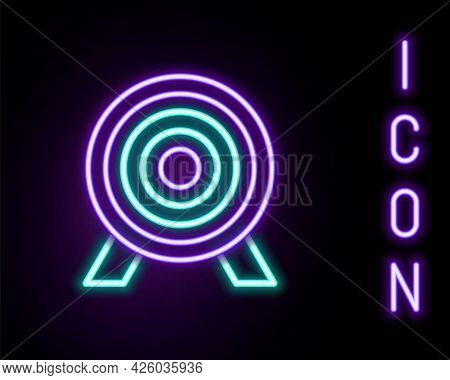 Glowing Neon Line Target Financial Goal Concept Icon Isolated On Black Background. Symbolic Goals Ac