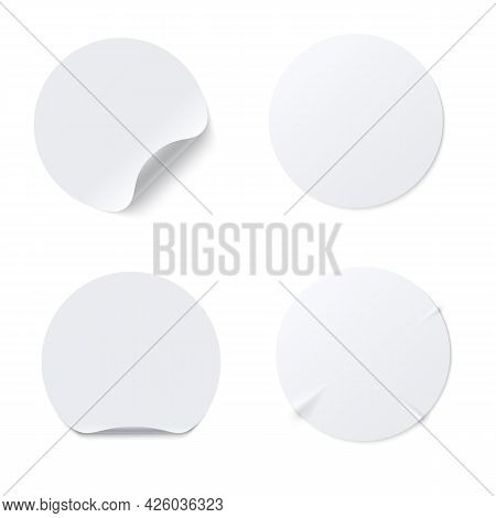 Realistic Template Of White Round Paper Adhesive Sticker With Curved Edge Isolated On White Backgrou