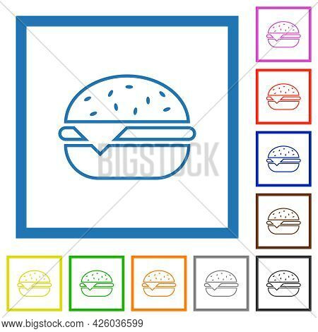 Single Cheeseburger Flat Color Icons In Square Frames On White Background