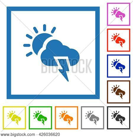 Sunny And Stormy Weather Flat Color Icons In Square Frames On White Background
