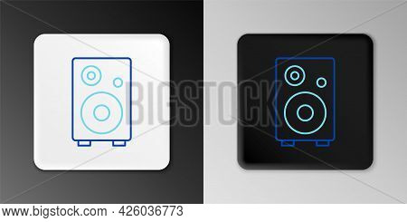 Line Stereo Speaker Icon Isolated On Grey Background. Sound System Speakers. Music Icon. Musical Col