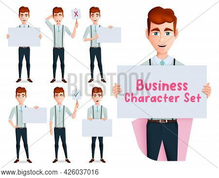 Businessman Characters Vector Set. Business Man Character Holding And Showing Whiteboard Element For