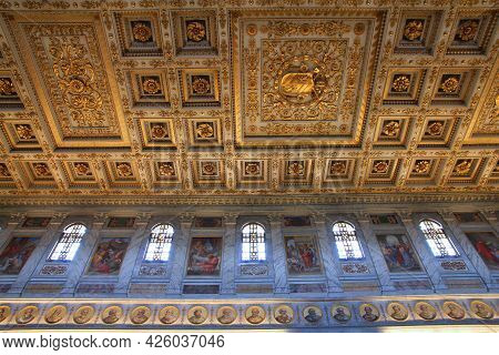 Rome, Italy - April 9, 2012: Interior View Of Papal Basilica Of St. Paul Outside The Walls (basilica