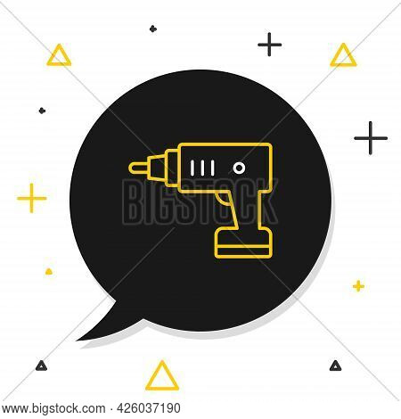 Line Electric Cordless Screwdriver Icon Isolated On White Background. Electric Drill Machine. Repair