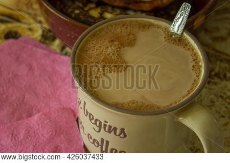 Cocoa With Foam, Texture. Can Be Used As Background.