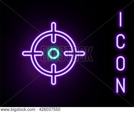 Glowing Neon Line Target Sport Icon Isolated On Black Background. Clean Target With Numbers For Shoo