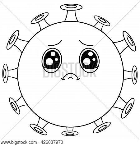 Coronavirus Line. Cartoon Cute Green Sad Virus With Big Eyes.