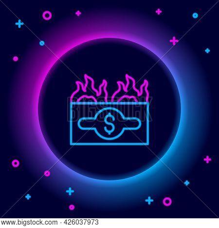 Glowing Neon Line Burning Dollar Bill Icon Isolated On Black Background. Dollar Bill On Fire. Burnin