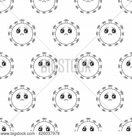 Coronavirus Line Pattern. Cartoon Cute Green Sad Virus With Big Eyes.