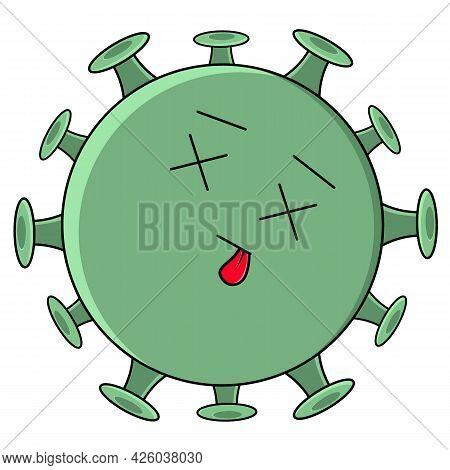 Coronavirus Dead. Cartoon Cute Green Sad Virus With Big Eyes.