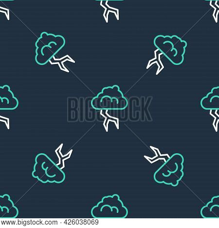Line Storm Icon Isolated Seamless Pattern On Black Background. Cloud And Lightning Sign. Weather Ico