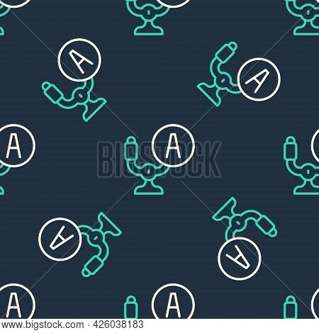 Line Aircraft Steering Helm Icon Isolated Seamless Pattern On Black Background. Aircraft Control Whe
