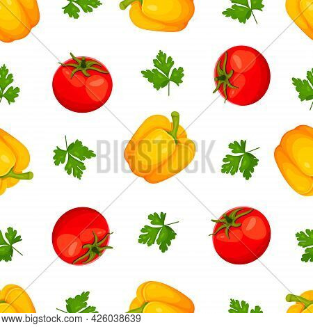 Seamless Pattern Of Sweet Paprika, Peppercorns Yellow Bulgarian Pepper, Red Tomato And Parsley Isola