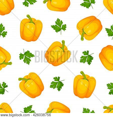 Seamless Pattern Of Sweet Paprika, Peppercorns Yellow Bulgarian Pepper And Parsley Isolated On White