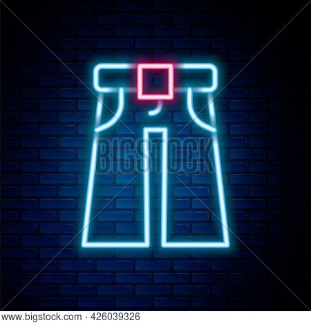 Glowing Neon Line Jeans Wide Icon Isolated On Brick Wall Background. Colorful Outline Concept. Vecto