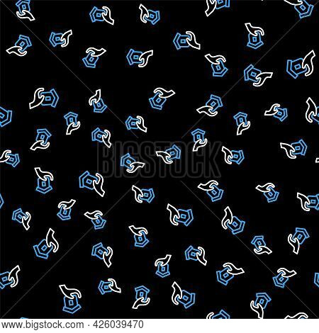 Line Shelter For Homeless Icon Isolated Seamless Pattern On Black Background. Emergency Housing, Tem