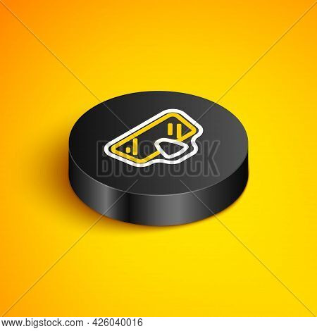 Isometric Line Diving Mask Icon Isolated On Yellow Background. Extreme Sport. Diving Underwater Equi