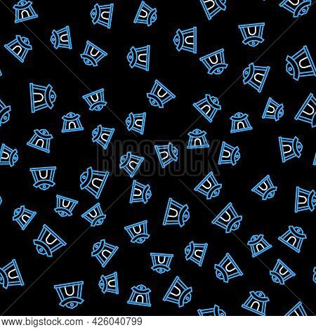 Line Traditional Korean Temple Building Icon Isolated Seamless Pattern On Black Background. Vector