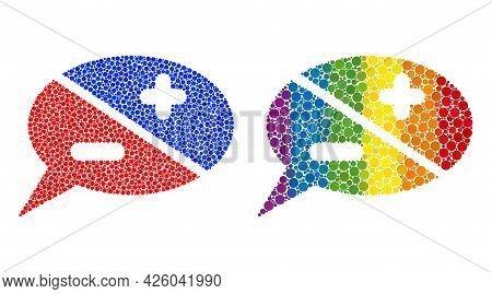 Chat Arguments Composition Icon Of Spheric Dots In Variable Sizes And Spectrum Color Hues. A Dotted