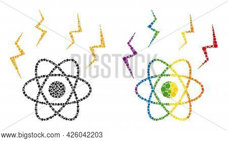 Atomic Emission Collage Icon Of Filled Circles In Different Sizes And Spectrum Bright Color Tints. A