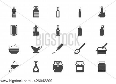 Sauces Flat Icons. Vector Illustration Include Icon - Jug, Cup, Vinegar, Mayonnaise, Ketchup, Sour C