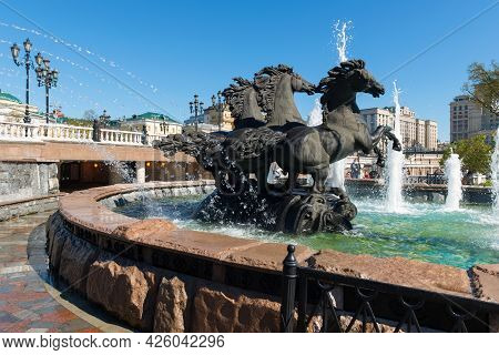 Moscow, Russia - 10 May 2021:  Fountain  Four Seasons,was Established In 1996. Moscow Architecture A