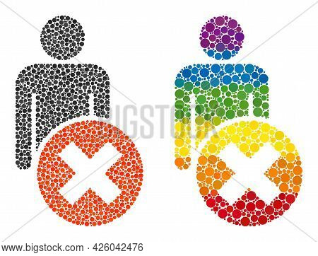 Delete Man Mosaic Icon Of Filled Circles In Various Sizes And Spectrum Multicolored Shades. A Dotted