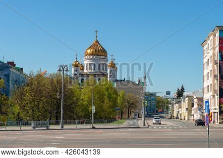 View Of Volkhonka Street And The Cathedral Of Christ The Savior On A Spring Day
