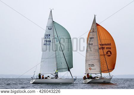 Travemuende, Germany - July 28, 2018 Sailing Boats At The Sailing Week In Travemuende Germany
