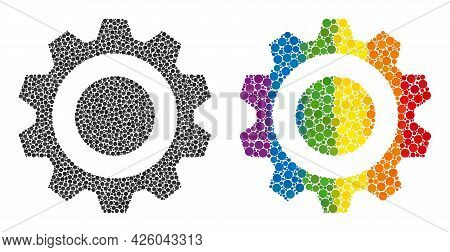 Gear Collage Icon Of Round Items In Various Sizes And Spectrum Colorful Color Tinges. A Dotted Lgbt-