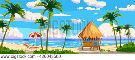Tropical Resort Wooden Bungalow For Rest, Vacation. Modern Architecture With Exotic Palms, Sea, Ocea