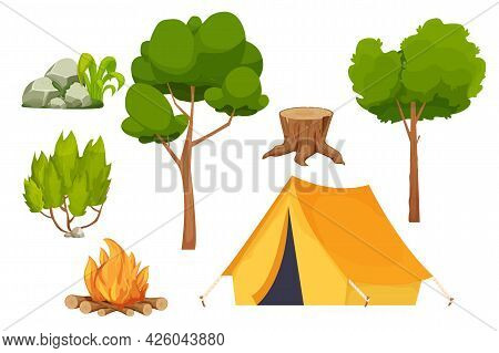 Set Camping Campfire, Tent, Bush, Forest Trees, Old Stump And Stone Pile With Moss In Cartoon Style